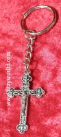 12 x Cross Crucifix Jesus Keyrings Holy Religious Silver-Tone Key Rings Catholic